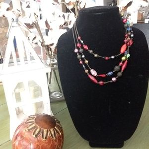 3 strand multi-colored red bead necklace